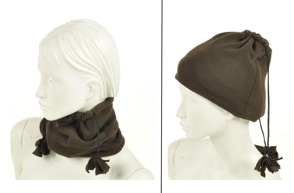Cache-col 2en1 bonnet en polaire marron 245039