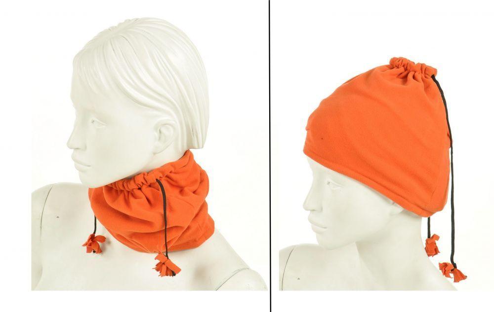 Cache-col 2en1 bonnet en polaire orange 245037