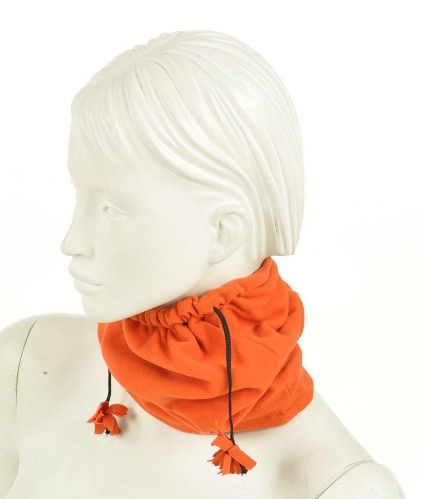 Cache-col 2en1 bonnet en polaire orange 255069
