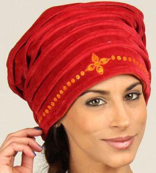 Chapeau d'Hiver esprit Turban Ethnique et Coloré Dehli Rouge 277295