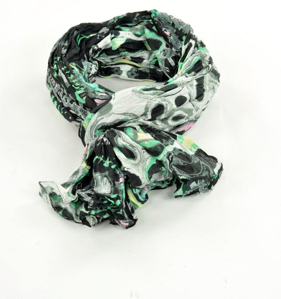 Chèche foulard imprimé blanc/noir en coton 245004