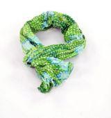 Chèche foulard imprimé bleu et vert en coton 245014