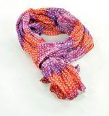 Chèche foulard imprimé en coton violet et orange 245007