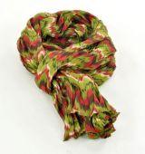 Ch�che foulard imprim� kaki/rouge en coton 245003