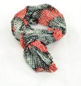 Chèche foulard imprimé noir/rouge en coton 245002