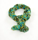 Chèche foulard imprimé psyché bleu et kaki en coton 245022