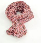 Chèche foulard imprimé rose orange et marron en coton 245016