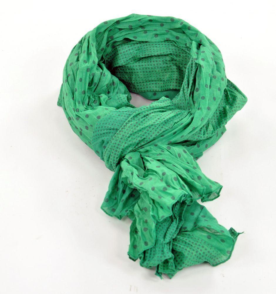 Chèche foulard imprimé vert à pois en coton 244310