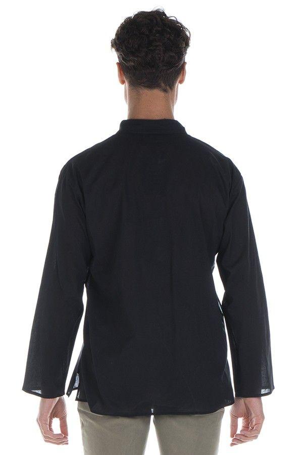 Chemise en coton pour homme avec col à boutons noire Dylan 295849