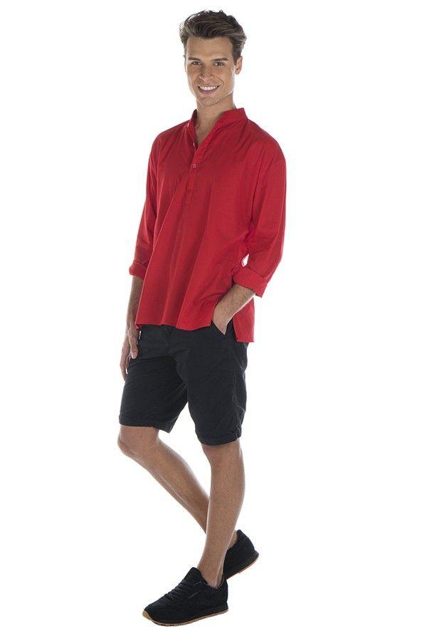 Chemise en coton pour homme avec col à boutons rouge Damon 295836
