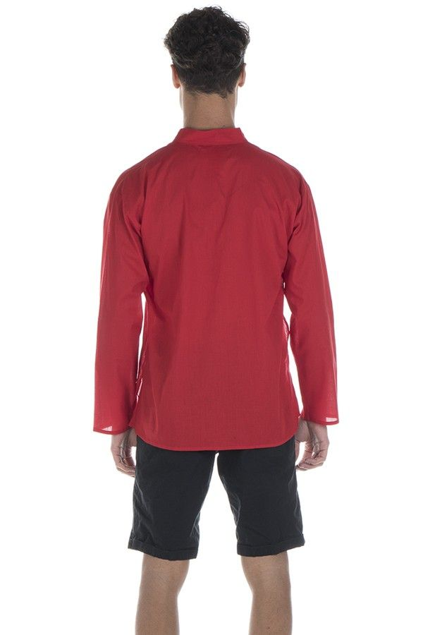 Chemise en coton pour homme avec col à boutons rouge Damon 295837