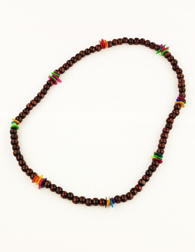 Collier de perles en bois et coquillage neck marron 246722