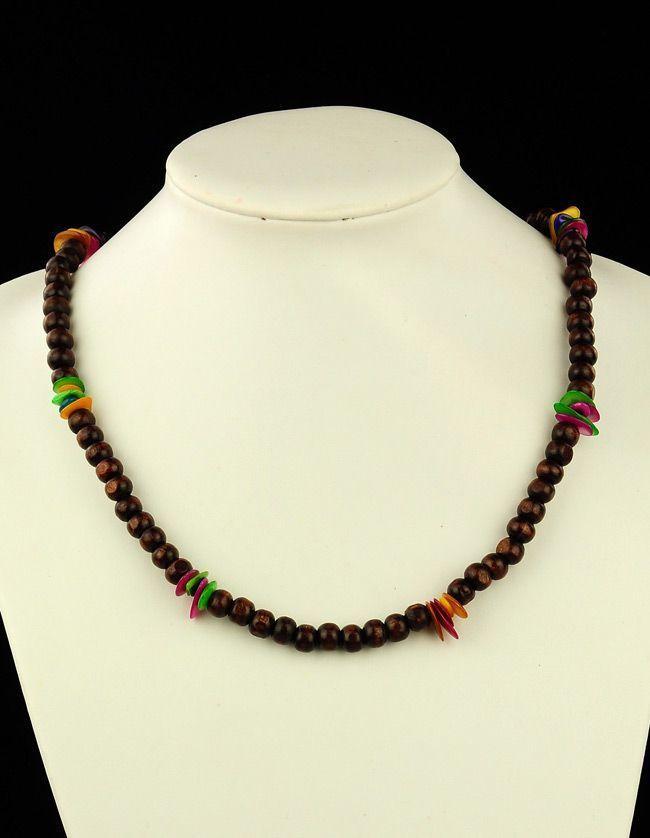 Collier de perles en bois et coquillage neck marron 256225