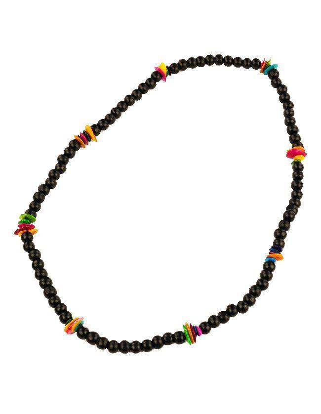 Collier de perles en bois et coquillage neck noir 246717