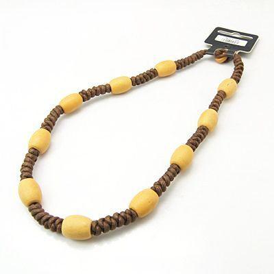 Collier original en cordon et perles de bois psyx 247046