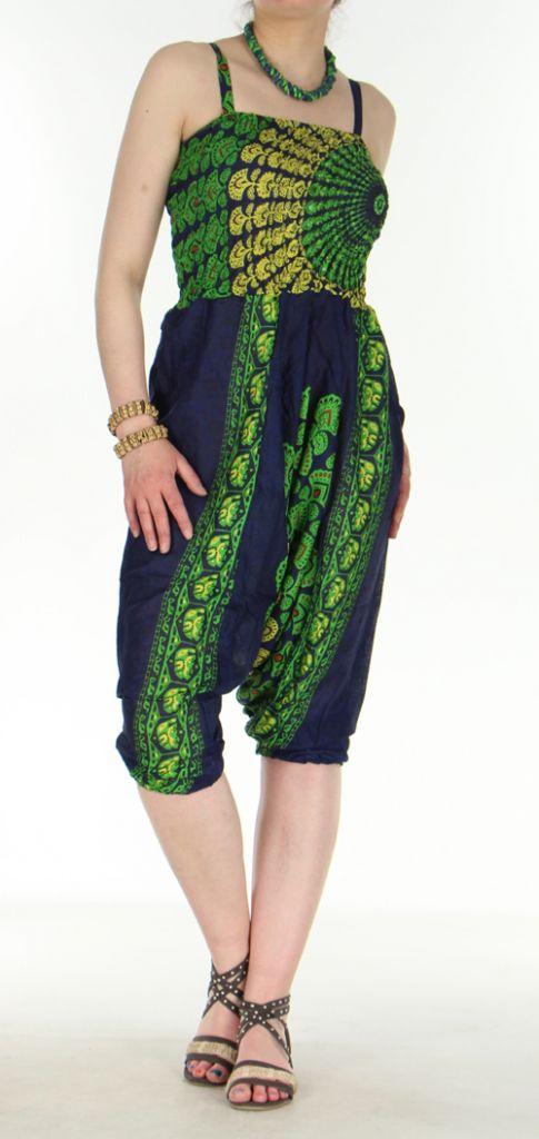 Combi sarouel paon bleu marine pour femme en viscose Laloune 271038