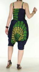 Combi sarouel paon bleu marine pour femme en viscose Laloune 271039
