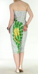 Combi sarouel paon pour femme blanc en viscose Laloune 271027