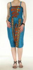 Combi sarouel paon pour femme bleu clair en viscose Laloune 271030