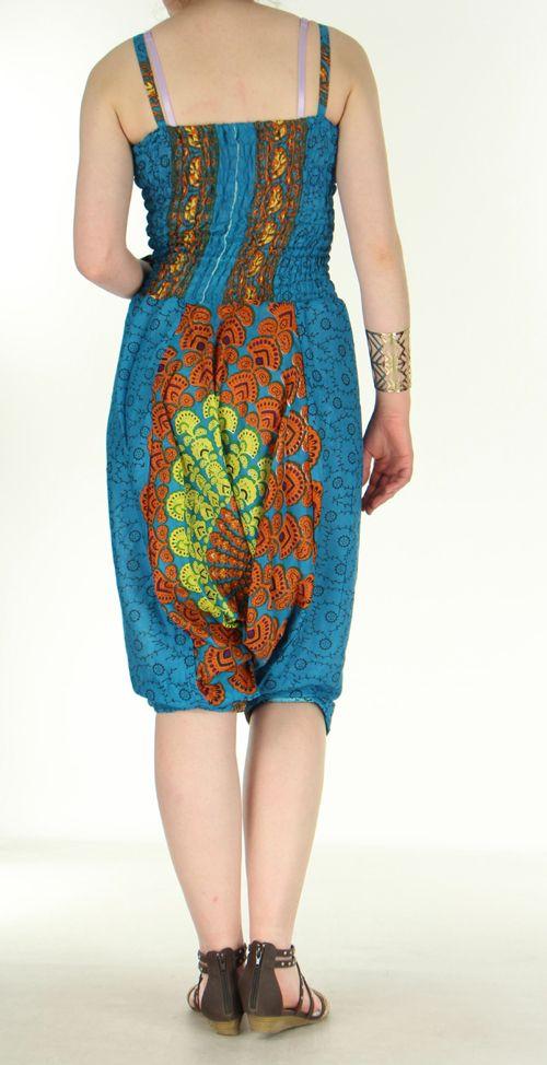 Combi sarouel paon pour femme bleu clair en viscose Laloune 271031