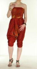Combi sarouel paon rouge pour femme en viscose Laloune 271032