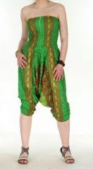 Combi sarouel paon vert pour femme en viscose Laloune 271028