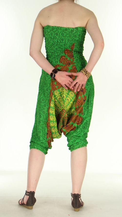 Combi sarouel paon vert pour femme en viscose Laloune 271029