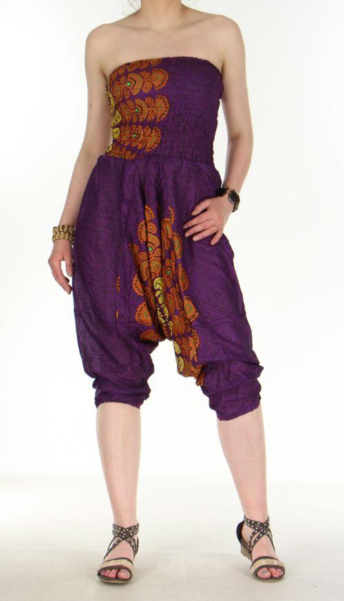 Combi sarouel paon violet pour femme en viscose Laloune 271036