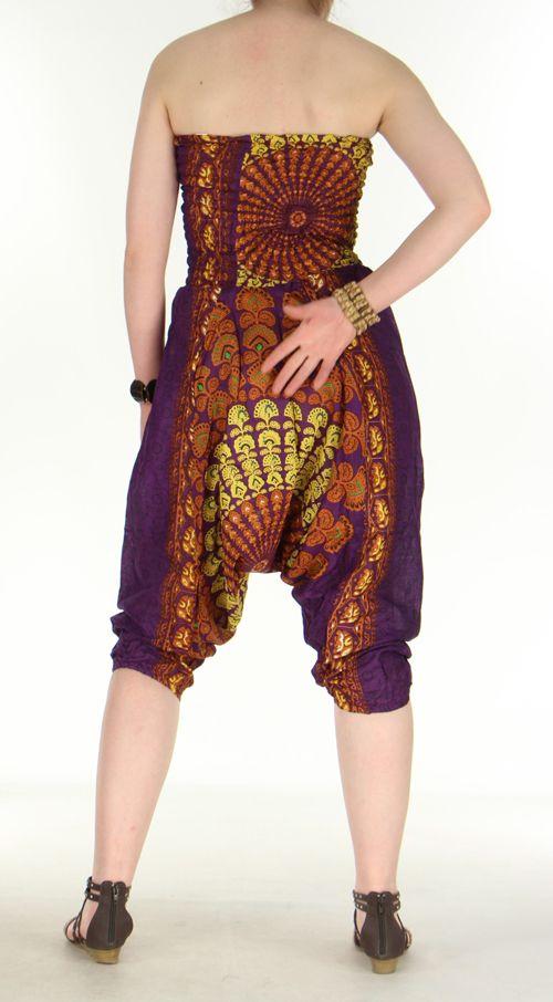 Combi sarouel paon violet pour femme en viscose Laloune 271037