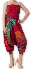 Combi-Sarouel pour femme d'été Ethnique et Coloré Any Rouge et Vert 276672