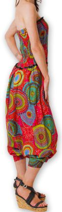 Combi-Sarouel pour femme d'été Ethnique et Coloré Any Rouge 276669