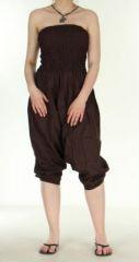Combi sarouel uni marron en coton léger pour l'été Sylvie 271009