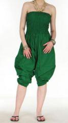 Combi sarouel uni vert en coton léger pour l'été Sylvie 271016