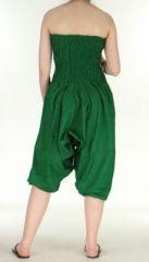 Combi sarouel uni vert en coton léger pour l'été Sylvie 271017