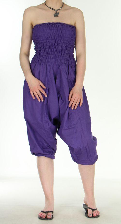 Combi sarouel uni violet en coton léger pour l'été Sylvie 271018