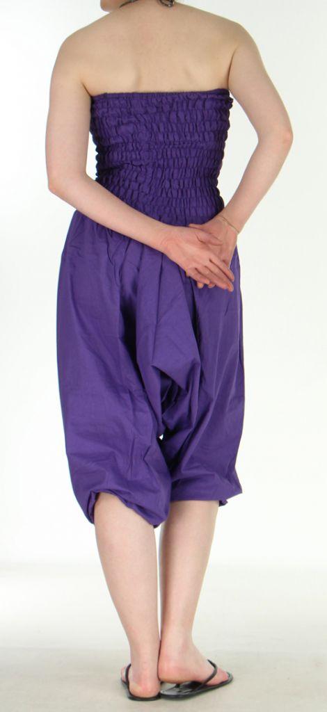 Combi sarouel uni violet en coton léger pour l'été Sylvie 271019