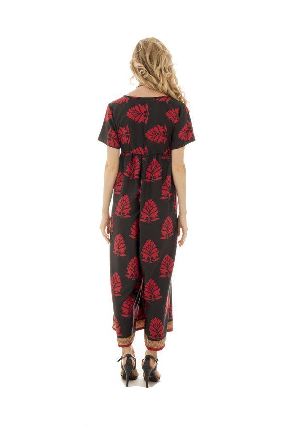 Combinaison pantalon fluide coupe 3/4 avec col rond rouge et noire Hanae 289081