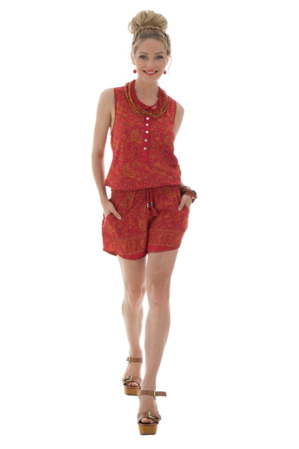 Combinaison short avec ceinture élastique et bretelles larges orange Rhéane 289147