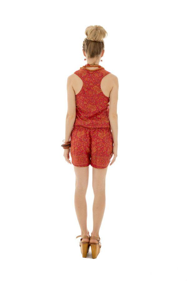 Combinaison short avec ceinture élastique et bretelles larges orange Rhéane 289148