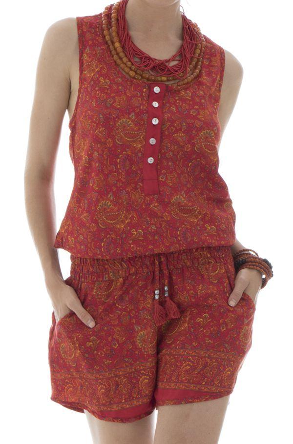 Combinaison short avec ceinture élastique et bretelles larges orange Rhéane 291562