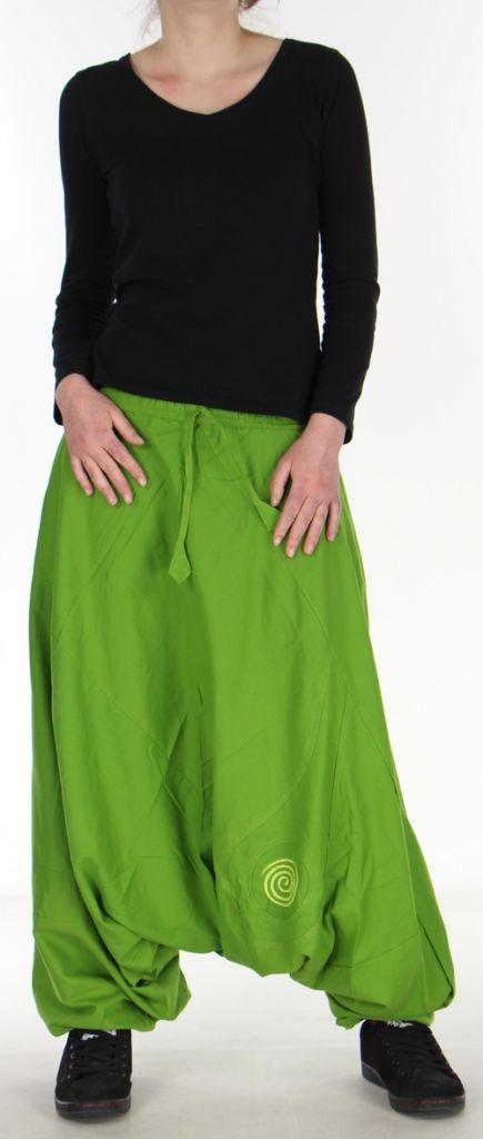 Confortable Sarouel ethnique et baba cool  Vert olive  Osei 272360