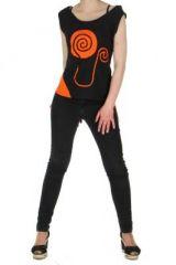 D�bardeur � capuche ethnique paolo noir et orange  261498