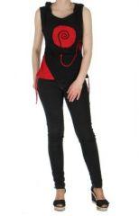 D�bardeur � capuche ethnique paolo noir et rouge 261512