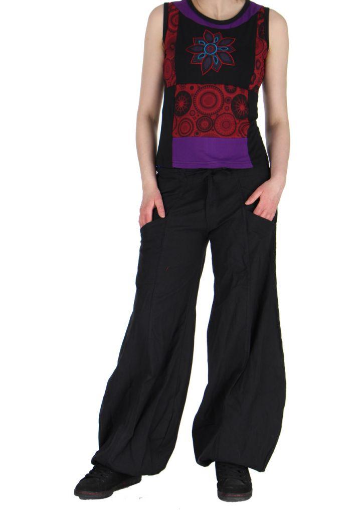 Débardeur brodé noir et violet Elia 268473