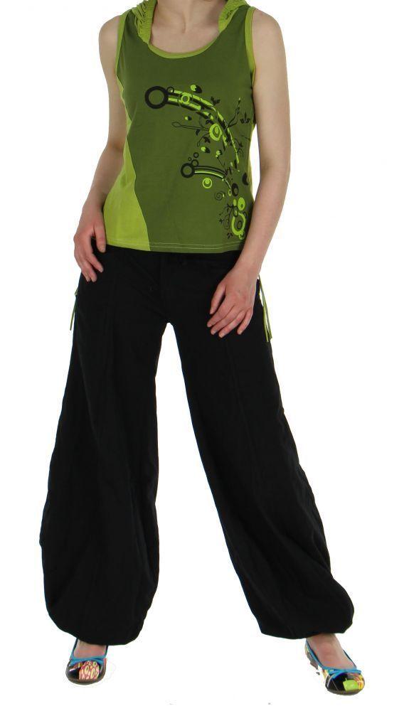 Débardeur femme ethnique à capuche imprimé festif vert 245419