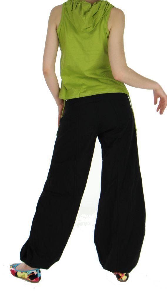 Débardeur femme ethnique à capuche imprimé festif vert 255416
