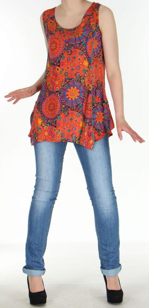 Débardeur/top imprimé et coloré fluide Orange  Kamal 272416