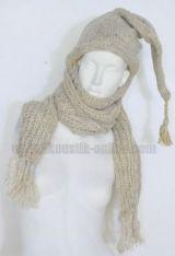 Echarpe à capuche lutin beige avec col en laine doublé polaire 240895