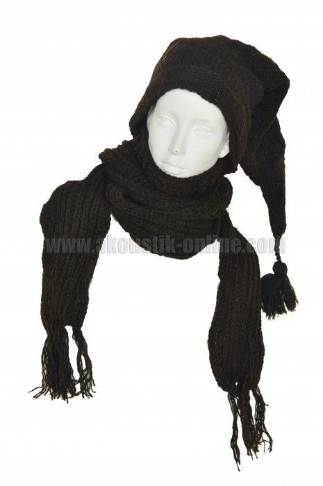 Echarpe à capuche lutin marron avec col en laine doublé polaire 240893