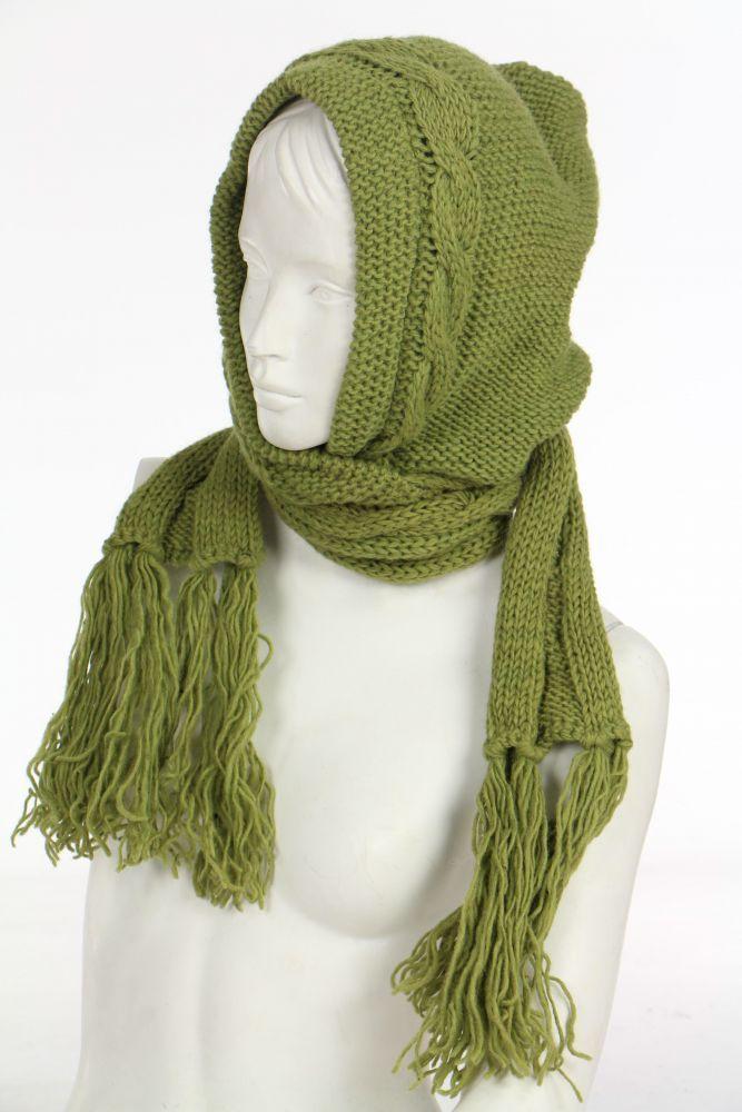 Echarpe avec capuche anis en laine doublée polaire 249611